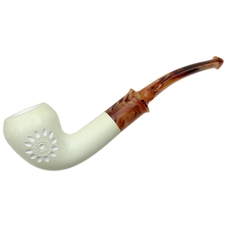 AKB Meerschaum Spot Carved Bent Acorn (with Case)