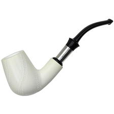 AKB Meerschaum Spot Carved Bent Billiard with Silver (with Case)