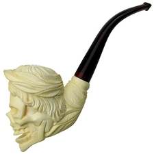 AKB Meerschaum Carved Skeleton in Roman Headdress (with Case)