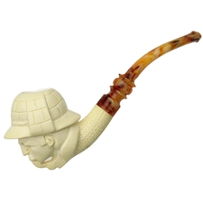 AKB Meerschaum Carved Sherlock Holmes with Pipe (with Case)