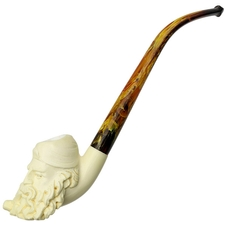 AKB Meerschaum Carved Bearded Man Smoking a Pipe Wearing Fez (with Case)