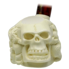 AKB Meerschaum Carved Humorous Skull (with Case)