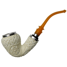AKB Meerschaum Carved Ornate Bent Dublin with Silver Cap (Tekin) (with Case)