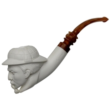 AKB Meerschaum Carved Sherlock Holmes Smoking a Pipe (A. Cevik)