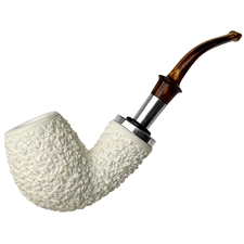 AKB Meerschaum Rusticated Bent Billiard with Silver (Tekin) (with Case)