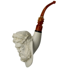 AKB Meerschaum Carved Ancient Philosopher (Kenan) (with Case)