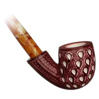 AKB Meerschaum Lattice Bent Billiard Churchwarden (Tekin) (with Case)