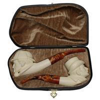 AKB Meerschaum Carved Sherlock Holmes & Watson Two Pipe Set (S. Cosgun) (with Case)