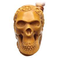 AKB Meerschaum Carved Floral Skull (Ali) (with Case)