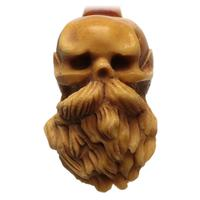 AKB Meerschaum Carved Bearded Skull (Kenan) (with Case)