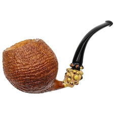 Doctor's Sandblasted Bent Apple with Bamboo and Polymerized Dinosaur Bone (569) (Double Flash)