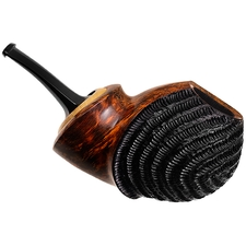 Ping Zhan Partially Rusticated Reverse Calabash Bent Apple with Boxwood