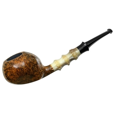 Ping Zhan Smooth Blowfish with 'Bamboo' Carved Horn