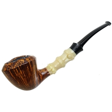 Ping Zhan Smooth Bent Dublin with Bamboo Carved Horn