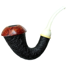 BriarWorks Dark Sandblasted Magnetic Calabash with Light Smooth Cap