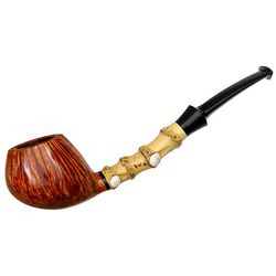 Steve Liskey Smooth Bent Apple with Bamboo and Elk Antler