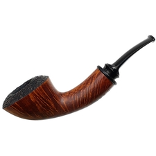 Jody Davis Partially Sandblasted Bent Dublin with Ox Horn (Abbot) (A16) (15)