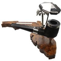 English Estates Dunhill Shell Briar with Silver (ODA) (835) (F/T) (RTDA 1997) (with Stand) (Unsmoked)