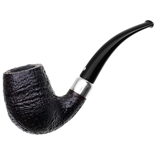 German Estates Bentley Former Design Sandblasted Bent Billiard with Silver (4-9.28) (9mm) (Unsmoked)
