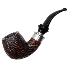 Italian Estates Ser Jacopo Sandblasted Bent Billiard with Silver (Delecta) (S1) (G)