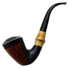Italian Estates Savinelli Autograph Partially Sandblasted Bent Dublin with Bamboo (Replacement Stem)