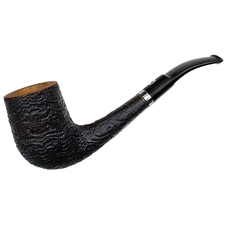 Italian Estates Il Ceppo Sandblasted Bent Billiard with Silver Band (1) (Unsmoked)