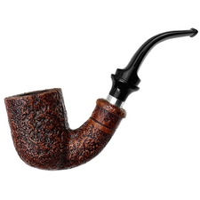 Italian Estates Ser Jacopo Sandblasted Bent Billiard with Silver (Delecta) (S2)