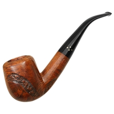 Misc. Estates Brigham Partially Rusticated Bent Billiard (424) (Rock Maple Insert) (Unsmoked)