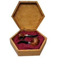 Misc. Estates Michail Kyriazanos Two Pipe Set Vintage Two Pipe Set with Silver (with Case) (Unsmoked)