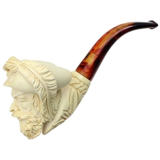Turkish Estates Paykoc Meerschaum Man with Hat (with Case) (Unsmoked)