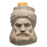 Turkish Estates Unknown Meerschaum Bearded Man (Reverse Threaded Bone Tenon) (Unsmoked)
